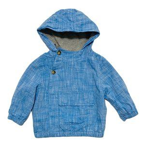 Linen Blue Lined Button Down Hoodie Jacket